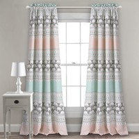 Elephants On Parade Room Darkening Window Curtains