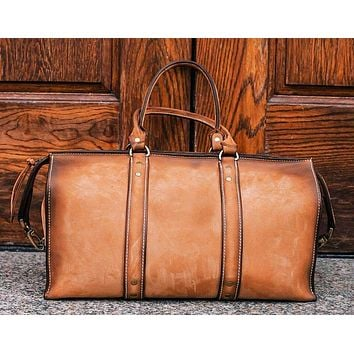 1920 Overnight Duffel Bag (Burnt Timber Leather)