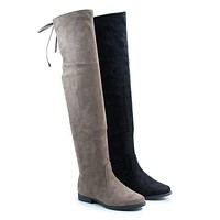Vista1 by Liliana, Over The Knee Back Lace Flat Boots