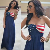 National Flag Maxi Dress Fourth of July