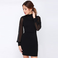 Black High Collar Cutout Sheer Cuff Long Sleeves Bodycon Mini Dress