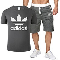 Adidas Summer Fashion New Letter Leaf Print Sports Leisure Top And Shorts Two Piece Suit Men Dark Gray