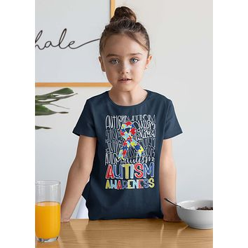 Kids Autism T Shirt Autism Typography Shirt Puzzle Ribbon Shirts Autism Support Tee Cute Autism Shirt