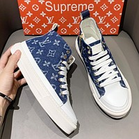 LV Fashion New Monogram Print High Top Shoes Blue