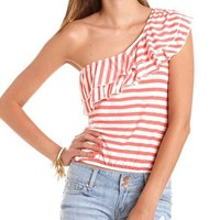 Tiered Ruffle One Shoulder Top: Charlotte Russe
