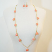 Coral Candy Drop Necklace & Earrings Set