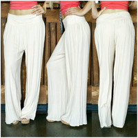 ON A VOYAGE GAUZE PALAZZO PANTS IN CREAM