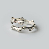 Retro thai silver dry twigs 925 sterling silver ring, a perfect gift