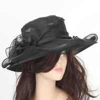 Women's Wedding Formal Church Wide Brim Hat