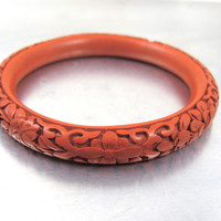 Antique Chinese Cinnabar Bracelet, Deeply Carved Flowers, Vintage 1930s Chinese Export Jewelry