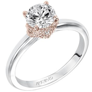 """Artcarved """"Clarice"""" Diamond Engagement Ring Featuring Rose Gold Details"""