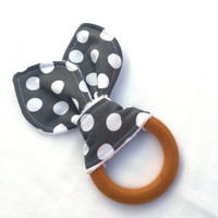 Natural Wooden Teething Ring - Gray and White Polka dot Teether - Maple Hardwood Teething Ring - Bunny Ears Teether - Natural Teething