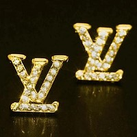 LV Louis Vuitton Dior classic full diamond letters ladies temperament earrings accessories