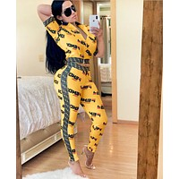 Fendi Women Fashion New More Letter Print Leisure Top And Pants Two Piece Suit Yellow