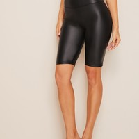 Wide Band Waist Leather Look Leggings Shorts