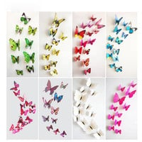 Keythemelife 12pcs PVC Fashion 3D Butterfly Wall Sticker Adesivo De Parede Art Decal Stickers Wall DIY Home Decoration DA
