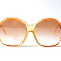 Vintage oversized yellow apricot peach tangerine glasses sunglasses 70s womens spectacles oversize statement nerd frame eyewear