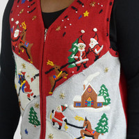 FREE SHIPPING Ugly Tacky Christmas Sweater Vest Red and White Santa Reindeer/ Sz 1X/ Plus Size