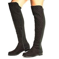 Iconic04 By Bamboo, Over Knee Round Toe Quilted Shaft Lug Sole Riding Boots
