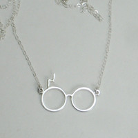 Harry Potter Glasses 1 inch with Scar Necklace by HollyPresley