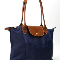 Longchamp New Le Pliage Nylon Tote Handbag Navy blue Large France