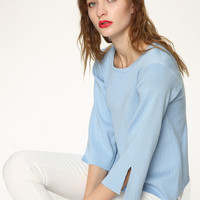 Knit Women Loose Sports Hoodies Round Necked Solid Split _ 10140