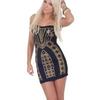 Strapless Metal Studded Art Deco Inspired Evening Party Cocktail Dress S M L