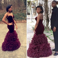 Elegant Prom Dresses 2016 Sweetheart Neckline Tiered Ruffles Vestidos De Festa Formature Mermaid Party Gowns Real Pictures