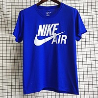 NIKE Air New fashion letter hook print couple top t-shirt Blue