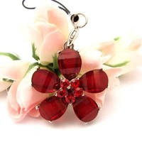 Red Cosmos Cell Phone Charm Strap Rhine Stone