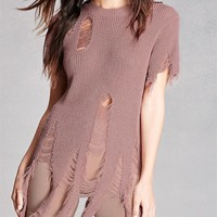Short Sleeve Knit Tops Summer Round-neck Ripped Holes Hollow Out Pullover T-shirts [10440585805]