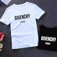 """GIVENCHY"" Unisex Casual Letter Print Short Sleeve Round Neck T-shirt Top Tee"