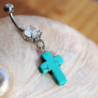 Turquoise Cross Dangle Belly Ring