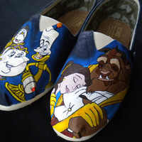 Custom Hand Painted Shoes - Beauty and the Beast