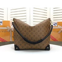 """LV"" Louis Vuitton Classic large-capacity printed zipper double-sided portable shopping bag shoulder bag"