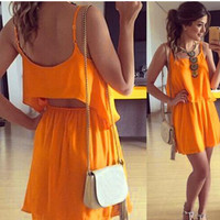 Spaghetti Strap Top and Skirt Two Piece Set in Orange