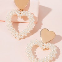 Faux Pearl Beaded Heart Earrings 1pair