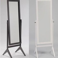 Swivel Full Length Wood Cheval Floor Mirror, Espresso & White Finish New