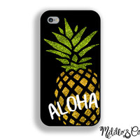 Aloha Glitter Pineapple Phone Case for Apple iPhone 5, 5c, 6 and 6 plus and Samsung Galaxy s5, s6 & Phone Stand