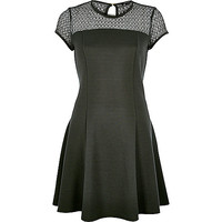 River Island Womens Khaki green lace top ribbed skater dress