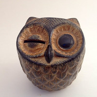Vintage Owl Figurine - 1960's 1970's, Primitive, Rustic, Woodland, Decor, Coin Bank, Piggy Bank