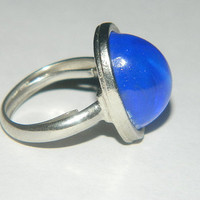 Blue stone silver ring sapphire blue