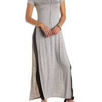 Short Sleeve Side Slit Maxi Tee by Charlotte Russe