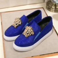 Versace Fashion new more diamond couple shoes flat white shoes round head casual heighten shoes Blue