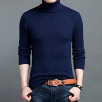 High Quality 100% cashmere Men Sweaters and Pullovers Long Sleeve Sweater Turtleneck Knitwear Double collar Male Sweater NB57