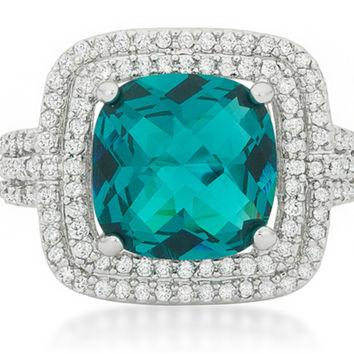 Candy Faceted Aqua Double Halo Cocktail Ring  | 9  Carat | Cubic Zirconia
