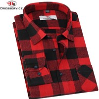 New Men Plaid Long-sleeved Casual Shirts Flannel Slim Fit Chemise Social Masculina Fashion
