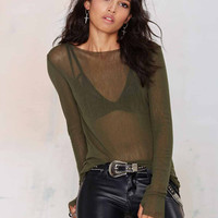 Green Sexy Sheer Mesh Long Sleeve Blouse Top