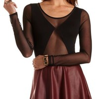 Long Sleeve Mesh Cut-Out Bodysuit by Charlotte Russe - Black