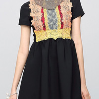 Black Multi-Color Lace Paneled Mini Dress